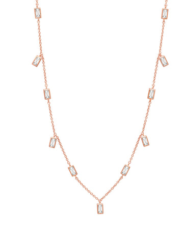 "Prism Baguette 16"" Necklace finished in 18KT Rose Gold"