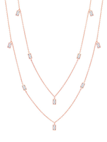 "Prism Baguette 36"" Necklace finished in 18KT Rose Gold"