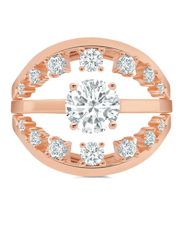 Round Prong Set Ring Set Finished in 18kt Rose Gold