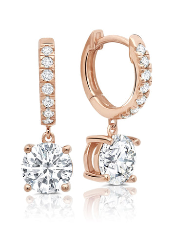crislu Round Cut Huggie Hoop Drop Earrings finished in 18kt Rose Gold