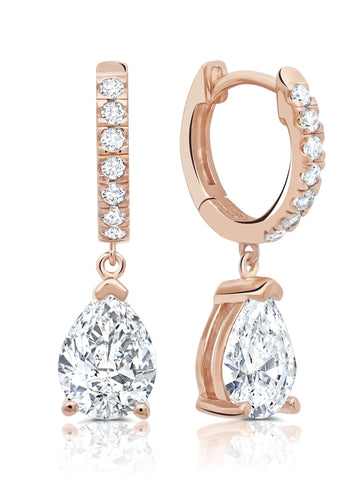 Pear Cut Huggie Hoop Drop Earrings Finished in 18kt Rose Gold