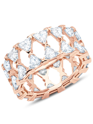 A Posh Trillion CZ Eternity Ring Finished in 18kt Rose Gold from CRISLU.