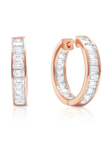 Parallel- 18k Rose Gold Baguette Hoop Earrings