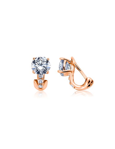 Postless Stud Earrings Finished in 18kt Rose Gold