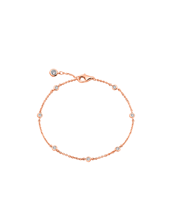 Small Bezel Station Anklet Finished in 18kt Rose Gold