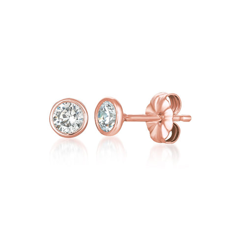 Solitaire Bezel Set Earrings Finished in 18kt Rose Gold - 1.0 Cttw