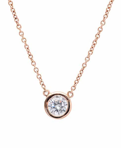 Solitaire Bezel Pendant Small Finished in 18KT Rose Gold