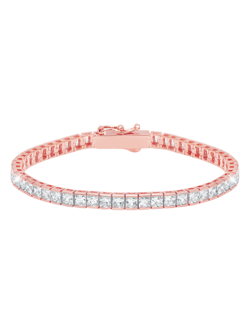 Rose Gold Classic Medium Princess cubic zirconia Tennis Bracelet
