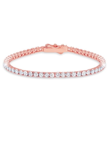 Rose Gold Classic Medium Brilliant cubic zirconia Tennis Bracelet