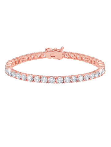 Rose Gold Classic Large Brilliant cubic zirconia Tennis Bracelet