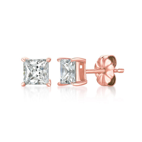 Solitaire Princess Stud Earrings Finished in 18kt Rose Gold - 1.50 Cttw