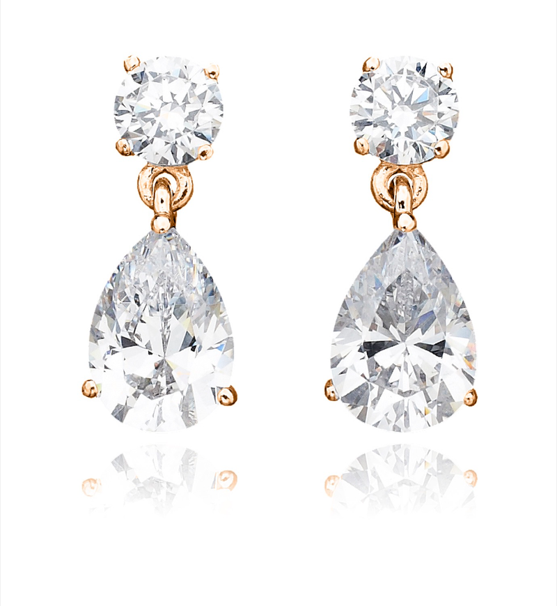 Solitaire Princess Earrings Finished in 18kt Rose Gold - 1.5 Cttw