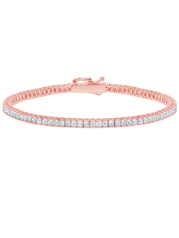 Classic Small Princess Tennis Bracelet Finished in 18kt Rose Gold