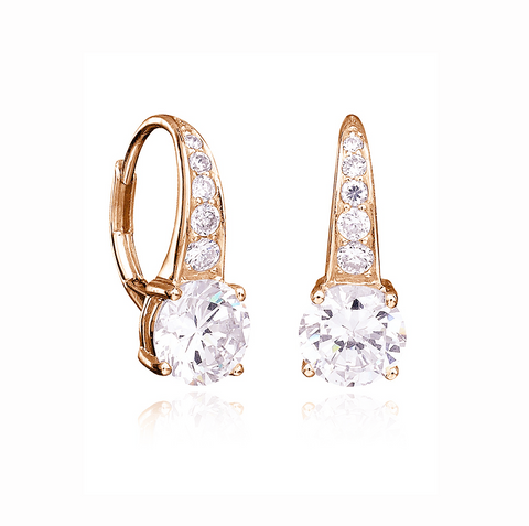 Accented Brilliant Cut Drop Earrings Finished in 18kt Rose Gold