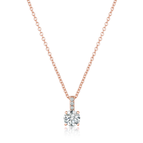 Accented Brilliant Pendant Finished in 18kt Rose Gold