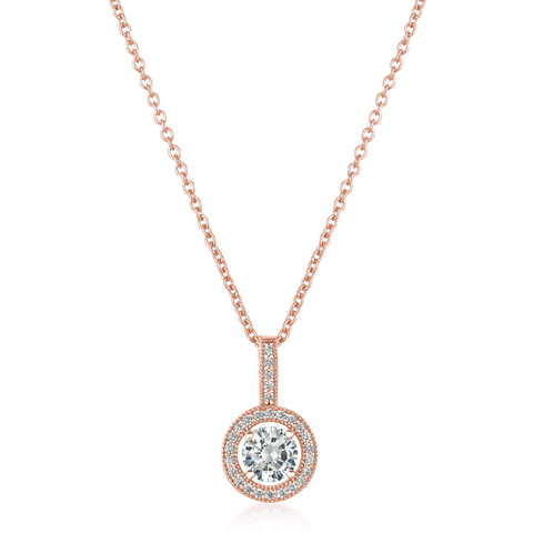 Brilliant Cut Halo Pendant Finished in 18kt Rose Gold