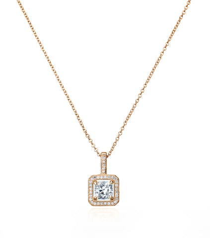 Princess Cut Pendant With Halo Finsihed in 18kt Rose Gold