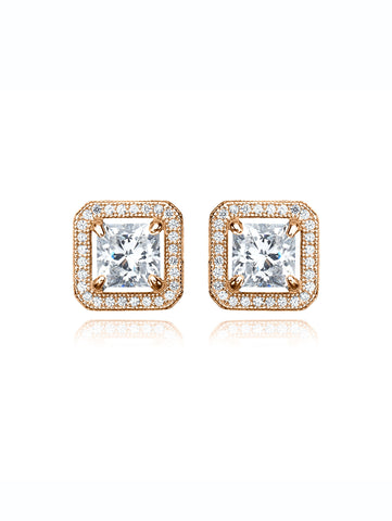 Princess Cut Stud Earrings With Halo Finished in 18kt Rose Gold