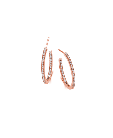 Small Pave Open Ended Hoop Earrings Finished in 18kt Rose Gold