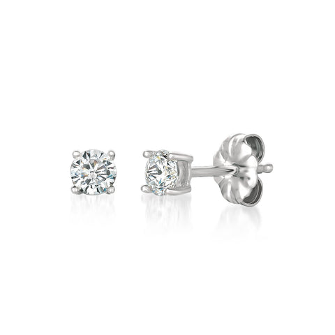 Solitaire Brilliant Earrings Finished in Pure Platinum - 0.50 Carat