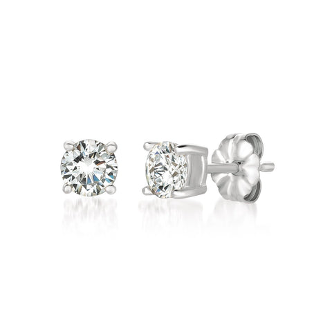 Solitaire Brilliant Earrings Finished in Pure Platinum - 1.0 Carat