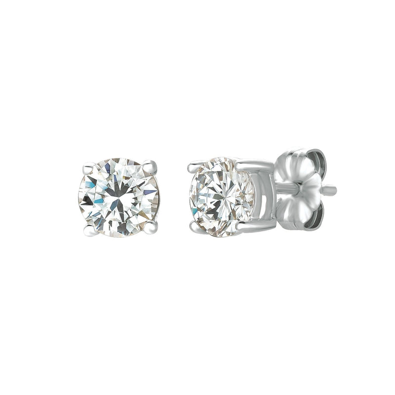 Solitaire Brilliant Stud Earrings Finished in Pure Platinum - 1.5 Cttw