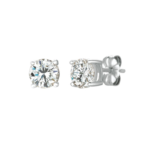 Solitaire Brilliant Earrings Finished in Pure Platinum - 1.5 Carat