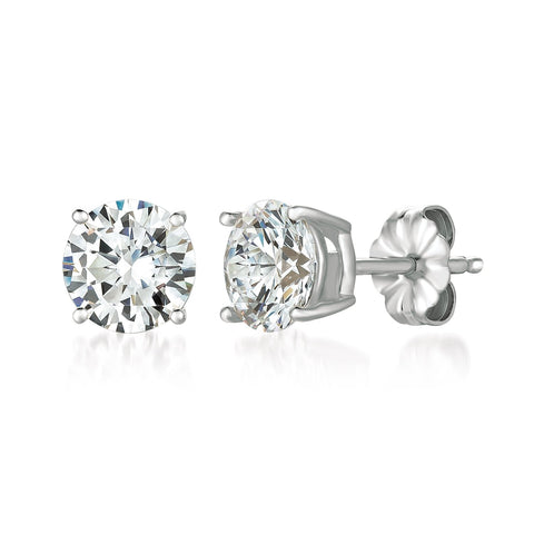 Solitaire Brilliant Earrings Finished in Pure Platinum - 3.0