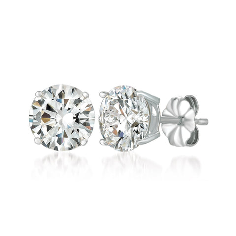 Solitaire Brilliant Earrings Finished in Pure Platinum - 4.0 Carat
