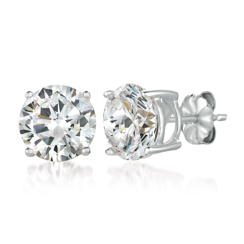 Solitaire Brilliant Stud Earrings Finished in Pure Platinum - 6.0 Carat
