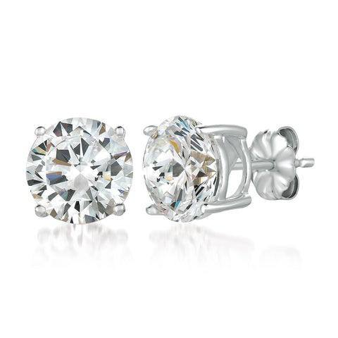 Solitaire Brilliant Earrings Finished in Pure Platinum - 6.0 Carat