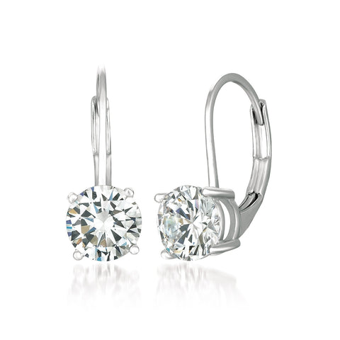 Solitaire Brilliant Cut Leverback Drop Earrings Finished in Pure Platinum