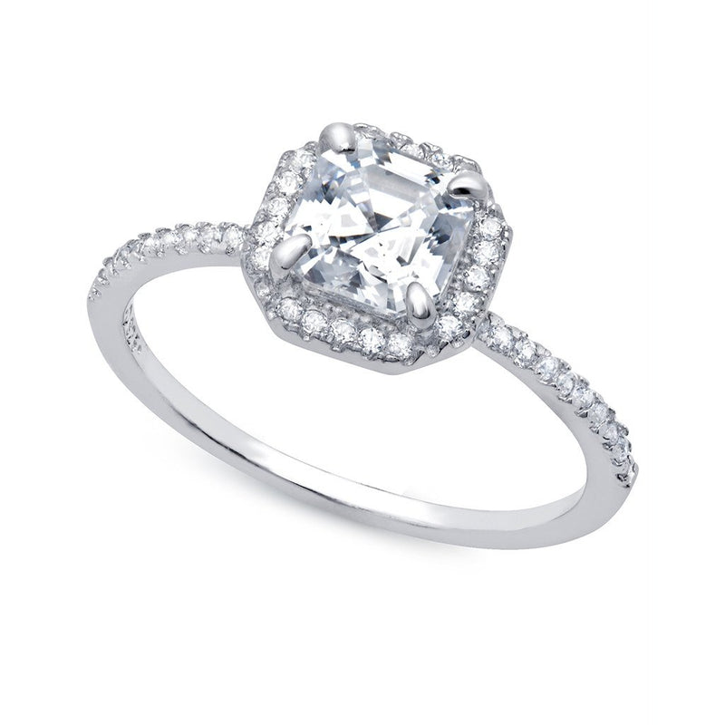Pure platinum cubic zirconia heirloom engagement ring