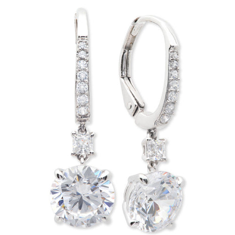Pure platinum Brilliant Drop Leverback cubic zirconia Earrings