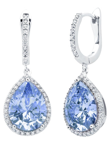 Pear Drop Blue Quartz Earrings Finished in Pure Platinum