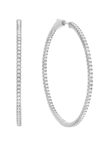 Medium Pave' Hoop Earrings Finished in Pure Platinum