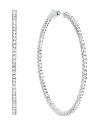 Large Pave Hoop Earrings Finished in Pure Platinum
