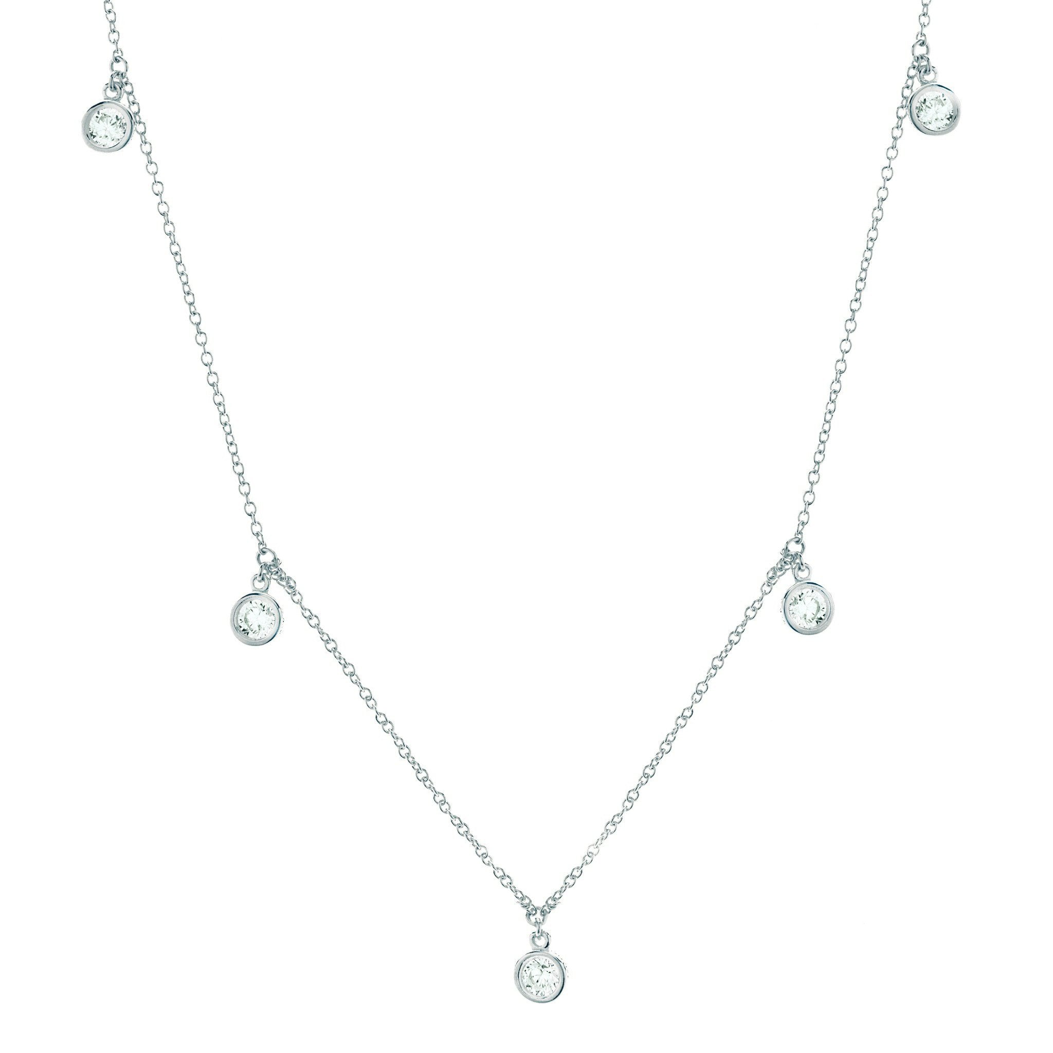 bezel crislu necklace platinum sterling cubic finish in zirconia silver and