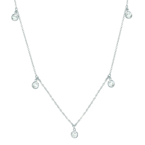 Pure platinum cubic zirconia Drop Bezel Necklace