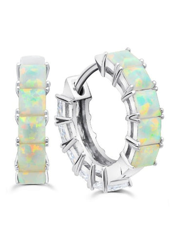 Pure platinum Duo Hoops - 13 mm with Opal and Clear Stones
