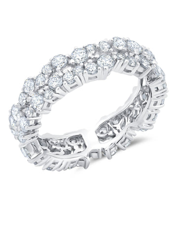 Pure platinum Cluster Small Eternity Ring