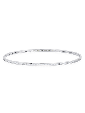 Pave Circle Bangle In Pure Platinum