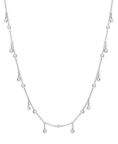Adjustable Layering Cubic Zirconia Necklace Pure Platinum
