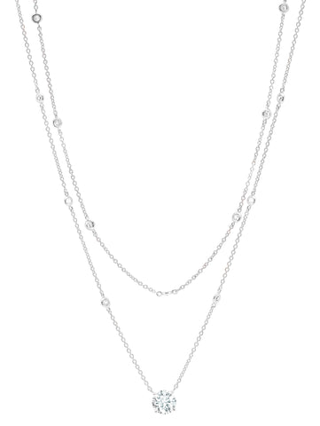 Solitaire Double Layered Necklace finished in Pure Platinum
