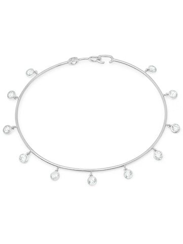 Pure platinum Bezel Set Charm cubic zirconia Bangle
