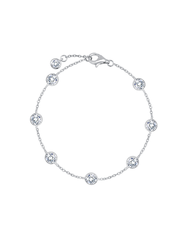 Large Bezel Station Anklet Finished in Pure Platinum