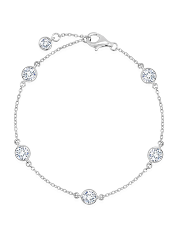 Bezel Set Station Bracelet Finished in Pure Platinum - 4mm