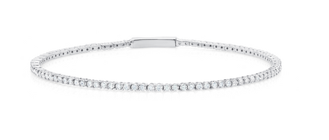 Flex Tennis Bracelet Finished in Pure Platinum
