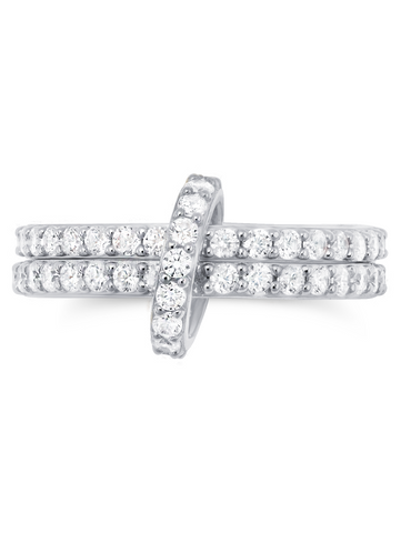 Pure platinum Double Link stackable Ring