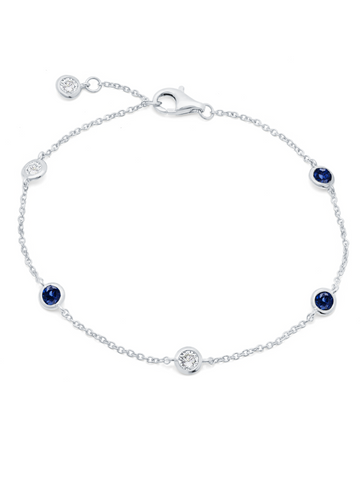Bezel Set Clear and Sapphire Bracelet Finished in Pure Platinum